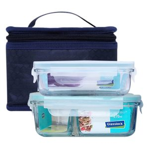 bộ 2 hộp ngăn túi giữ nhiệt glasslock lunch set 02-2
