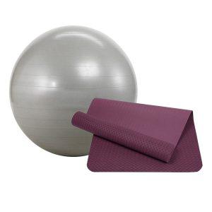 combo thảm tập yoga zera mat bóng sportslink scb01